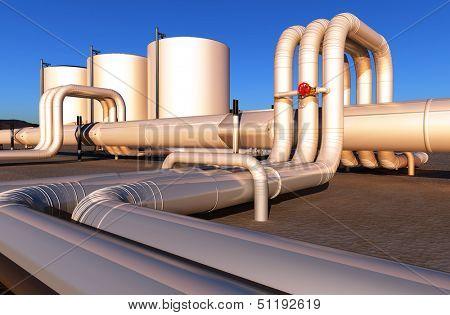 Tubes of factory in the desert.