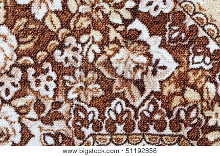 Fragment Of Colorful Retro Tapestry Textile Pattern With Floral Ornament Useful As Background