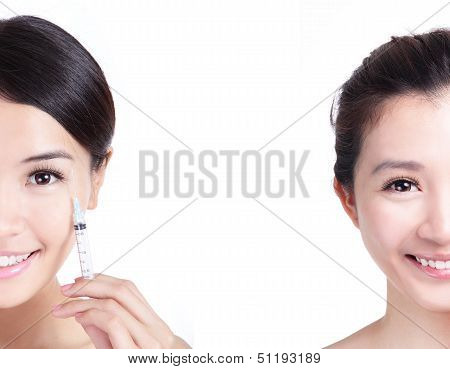Cosmetic Injection In Woman Half Face With Smile