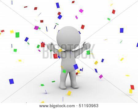 3D Man Victory Confetti