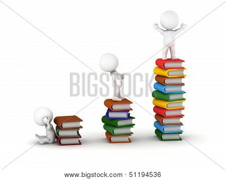 3D Men Standing on Stacks of Books