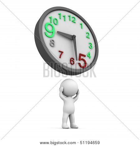 3D Man Overtime Clock