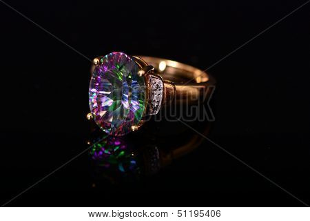 Mystic Topaz Diamond Gold Ring