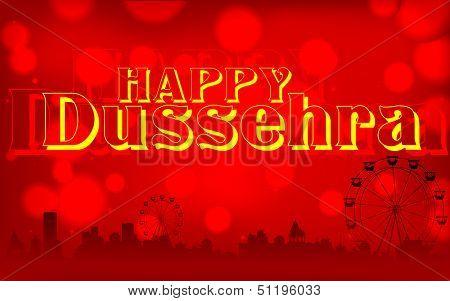 illustration of Happy Dussehra background on mela backdrop