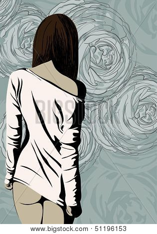 Illustration of beautiful woman posing
