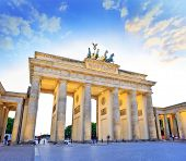 picture of gate  - sunset at Brandenburg Gate of Berlin Germany - JPG