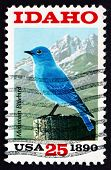 Postage Stamp Usa 1990 Mountain Bluebird And Sawtooth Mountains