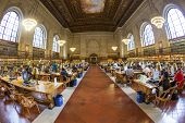 People Study In The New York Public Library In New York