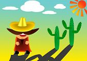 pic of character traits  - vector illustration of mexican in sombrero with a big mustache - JPG