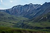 stock photo of denali national park  - The hills and river valleys of Denali National Park - JPG