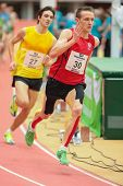 LINZ, AUSTRIA - JANUARY 31 Runners compete in the B final of the men's 3000m event on January 31, 20