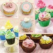 picture of mural  - Mural of several cupcakes on white background - JPG