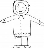 pic of eskimos  - Eskimo Child Doodle Simple Sketch Vector Illustration - JPG