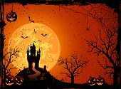stock photo of moon silhouette  - Halloween night - JPG