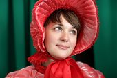 picture of edwardian  - Portrait of girl in red on a green background - JPG