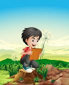 Illustration of a boy above a stump holding a picture frame