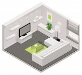 stock photo of lounge room  - Vector isometric living room icon - JPG