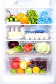 stock photo of water-saving  - Refrigerator full of food - JPG