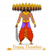 picture of dussehra  - illustration of Ravana with ten heads for Dussehra - JPG