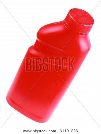 Red Plastic Bottle Isolated