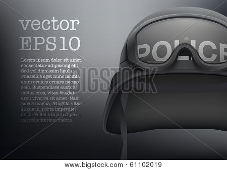 Background of police black helmet vector