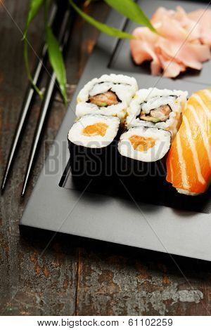 Sushi set served on a plate