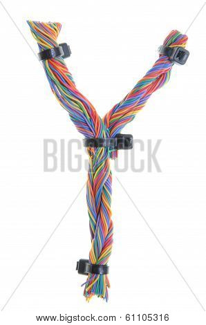 Colorful wire in the shape of the letter Y isolated on white background