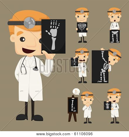 Set Of Doctor Characters With X-ray, Ultrasound