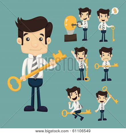 Set Of Businessman With Key