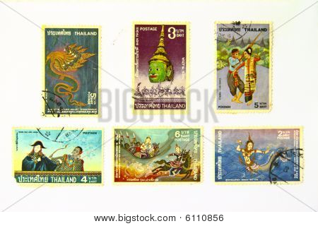 Old art Stamps Of Thailand ( An Art )