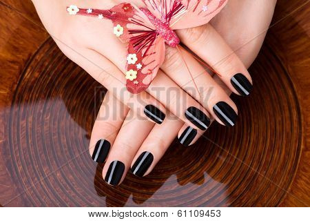 Beautiful Women Hands With Black Manicure