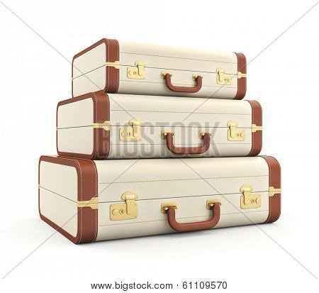 Three vintage suitcase