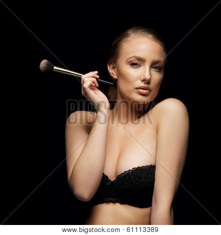 Sexy Young Woman In Bra With A Make Up Brush