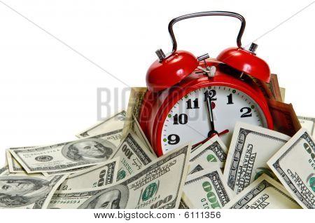 Alarm Clock Covered Pile Of Money