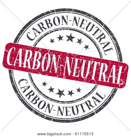 Carbon Neutral Red Grunge Round Stamp On White Background