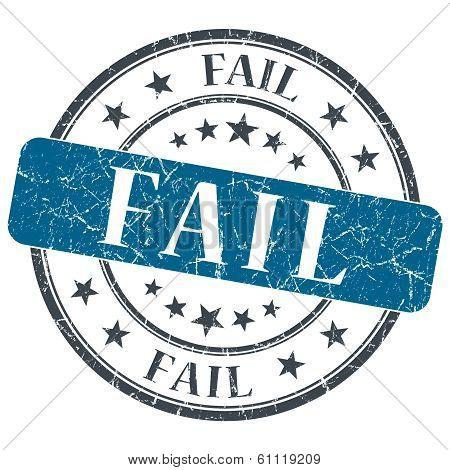 Fail Blue Grunge Round Stamp On White Background