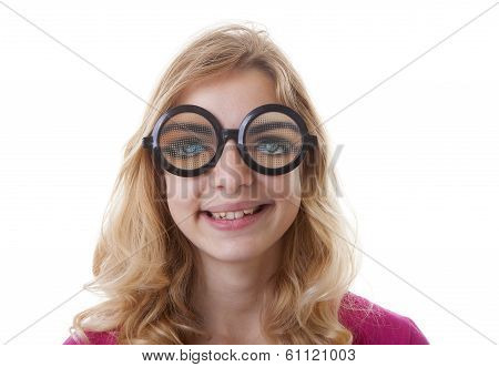 Portrait Of Girl With Funny Glases