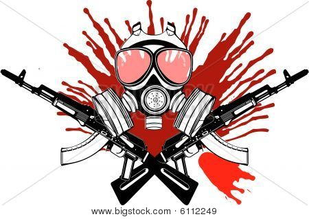 Gas Mask, Gun And Blood.