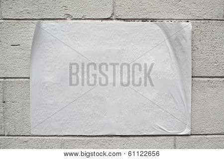 Blank White Poster On Grunge Wall