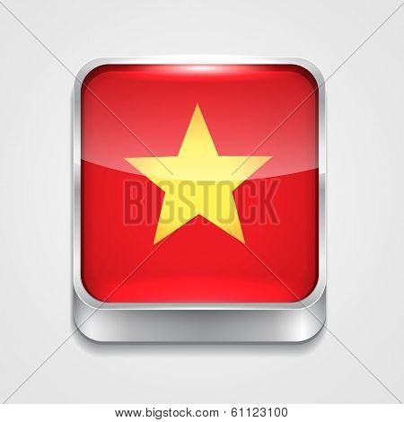 vector 3d style flag icon of vietnam