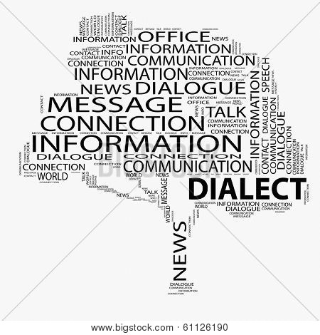 High resolution concept or conceptual black tree contact or dialect word cloud isolated on white background wordcloud