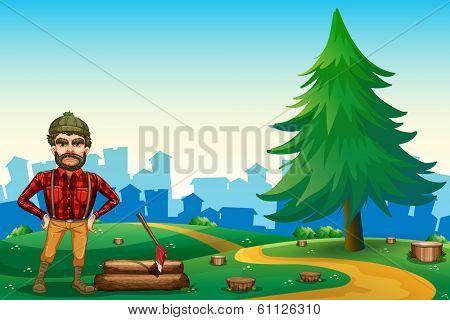 Illustration of a man at the hilltop