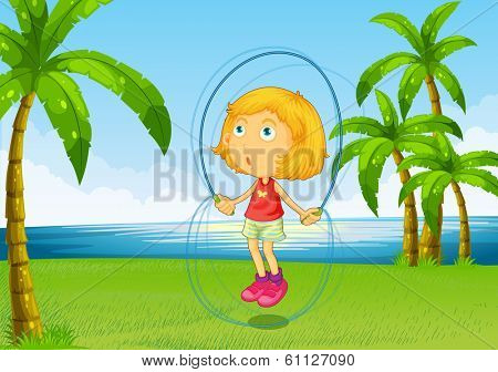 Illustration of a girl playing skipping rope at the riverside