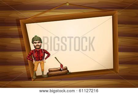 Illustration of a woodman standing in front of the hanging empty board