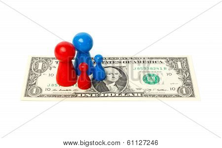 Standard Family Of Pawns On A Dollar Bill