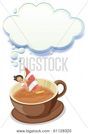 Illustration of a girl enjoying inside the big cup of choco with an empty callout on a white background