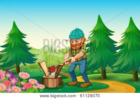 Illustration of a hardworking woodman chopping the wood near the garden at the hilltop