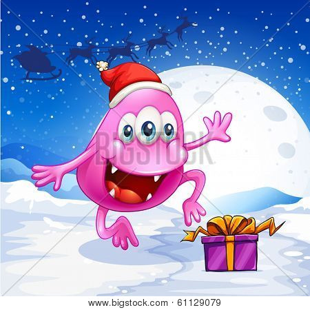 Illustration of a happy pink beanie monster wearing Santa's hat