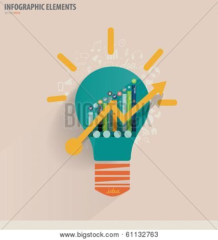 Creative idea in Light bulb as inspiration concept with drawing chart and graphs business strategy plan concept idea, vector illustration