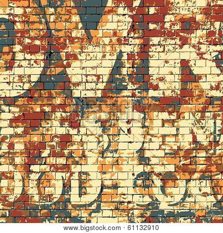 An Old Grunge Red Brick Wall with Painted Letters